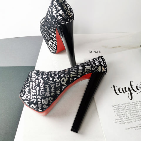 Letter Print Pumps Thick Heels - Tajna Club