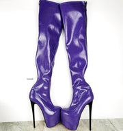 Purple Gloss Long High Heel Boots - Tajna Club