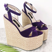 Purple High Heel Wedge Sandals - Tajna Club