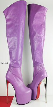 Genuine Leather Purple Violet Thigh High Boots - Tajna Club