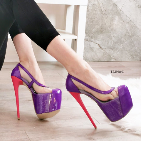 Purple Pink Transparent Platform Pumps - Tajna Club