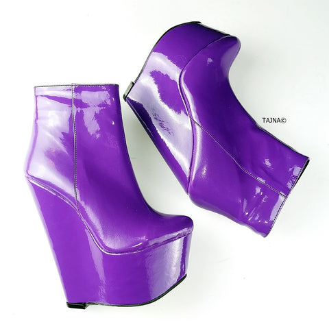 Purple Patent Ankle Wedge Booties - Tajna Club