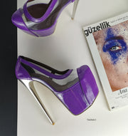 Purple Transparent Metallic Heels Peep Toe - Tajna Club