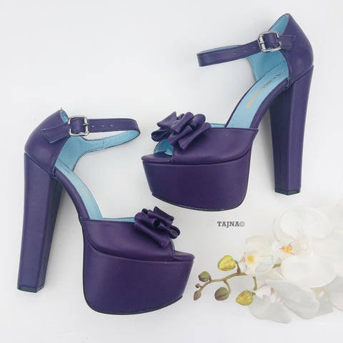 Purple  Ribbon Chunky Platform Shoes - Tajna Club