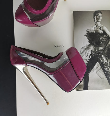Damson Purple Transparent Platform Pumps - Tajna Club