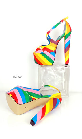Rainbow Multi Colour Cross Strap Heels - Tajna Club