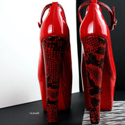 Genuine Leather Red Snake Detail  Chunky Heels - Tajna Club