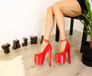 Red Patent Ankle Strap 19 cm High Heel Shoes - Tajna Club