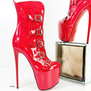 Red Gloss Belted Bondage High Heel Boots - Tajna Club