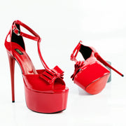 Red Gloss Ribbon High Heels - Tajna Club