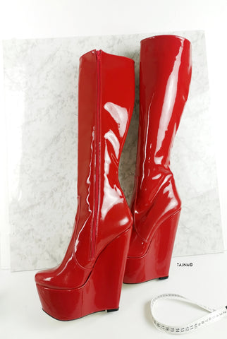 Red Patent High Heel Wedge Long Boots - Tajna Club