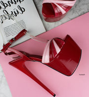Red Pink Gloss Tango Strap Heels - Tajna Club