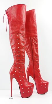 Spike Stud Red Genuine Leather Thigh Boots - Tajna Club