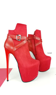 Red Suede Belt Detail Ankle Boots - Tajna Club