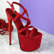 Red Suede Thin Strap Platform Sandals - Tajna Club