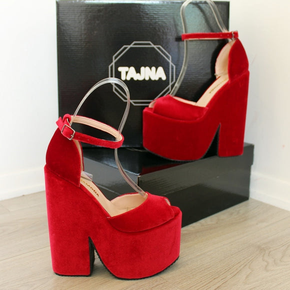 Dark Red Velvet High Heel Wedge Platform Shoes - Tajna Club