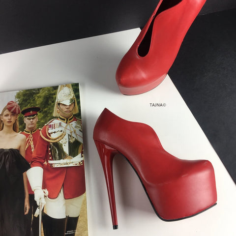 Slit Front Red Ankle Platforms - Tajna Club