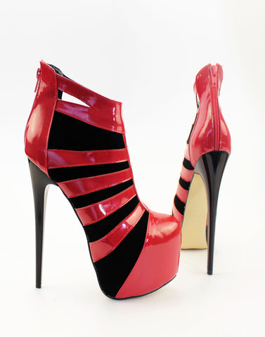 Red Black Patent High Heel Booties - Tajna Club