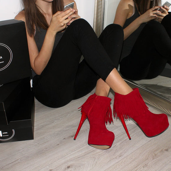Red Fringe Suede High Heel Platform Booties - Tajna Club