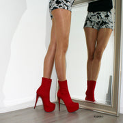 Red Suede High Heel Platform Ankle Boots - Tajna Club