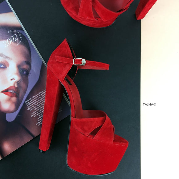 Red Suede Cross Strap Platforms - Tajna Club