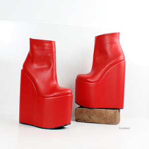 Red High Heel Wedge Booties - Tajna Club