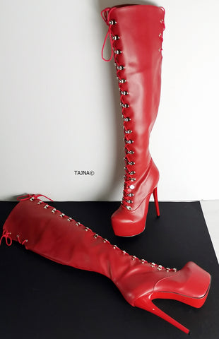 Red Matte Military Style Knee High Boots - Tajna Club