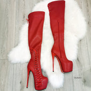 Red Knee High Corset Boots - Tajna Club