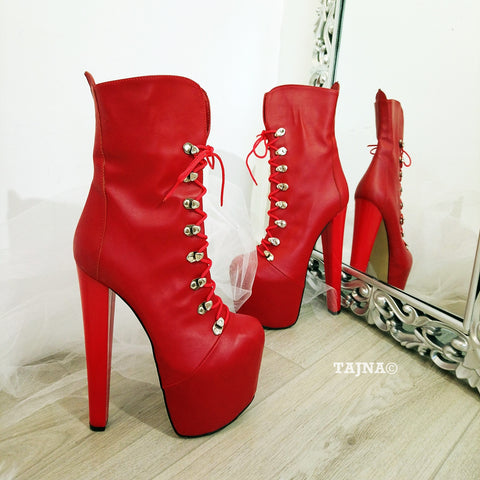 Red Lace Up Military  Platform Boots - Tajna Club
