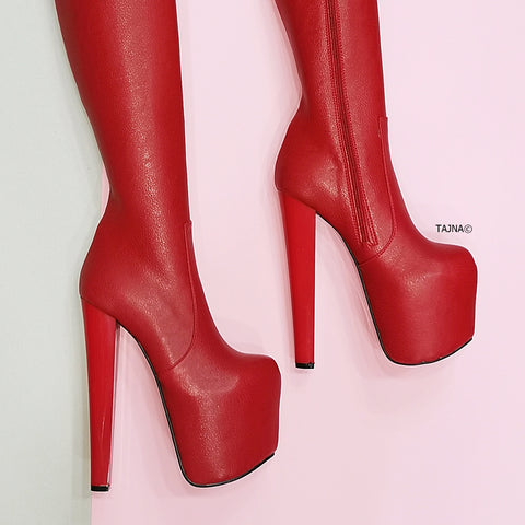 Red Matte Chunky Heel Knee High Boots - Tajna Club