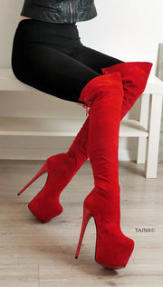 Red High Heel Over the Knee Boots - Tajna Club