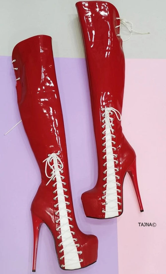 Red White Patent Knee High Corset Boots - Tajna Club
