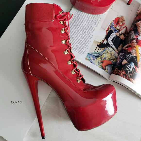 Lace Up Red Patent High Heel Platform Boots - Tajna Club