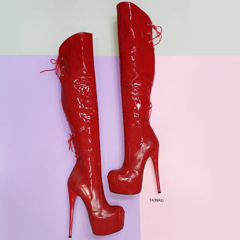 Red Patent Over the Knee High Heel Boots - Tajna Club