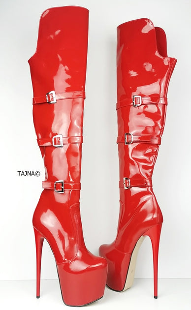 Red Patent Belted Knee High Boots