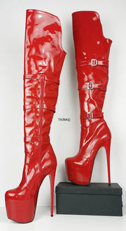 Red Patent Belted Knee High Boots - Tajna Club