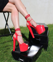 Red Patent Lace Up Summer Platforms - Tajna Club