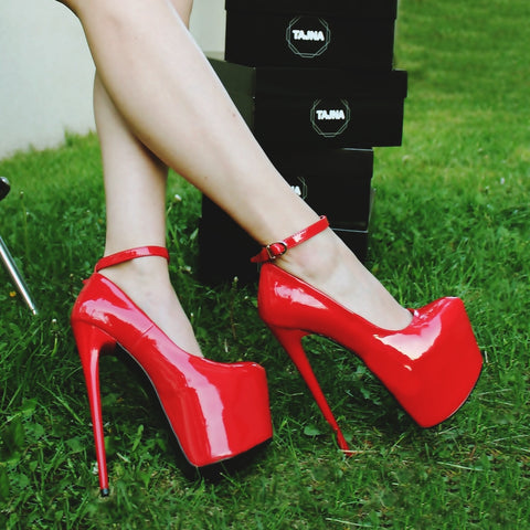 Ankle Strap Red Patent High Heel Platform Shoes - Tajna Club