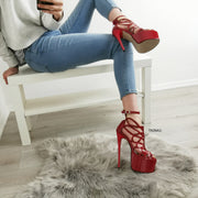 Red Patent Lazer Cage Ankle Heels - Tajna Club