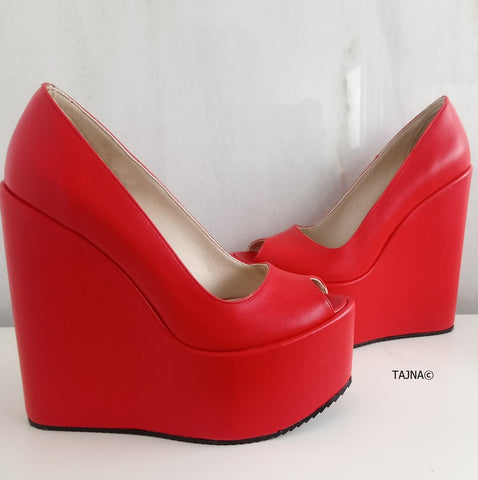 Red Peep Toe High Heel Wedges - Tajna Club