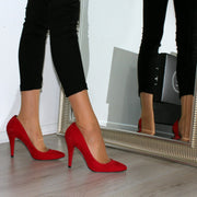 Red Suede Classic Stiletto - Tajna Club