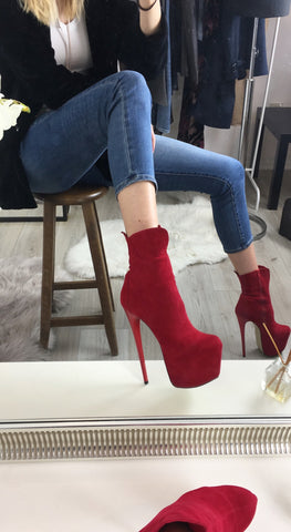 Red Suede High Heel Platform Boots - Tajna Club