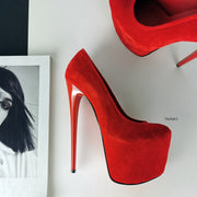 Red Suede High Heel Pumps - Tajna Club