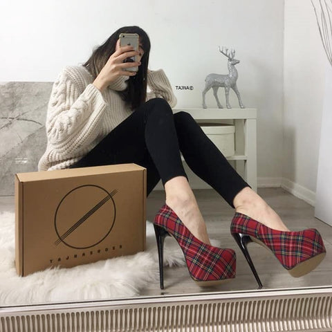 Red Tartan High Heel Pumps - Tajna Club