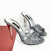 Silver Glitter Touch High Heel Mules - Tajna Club