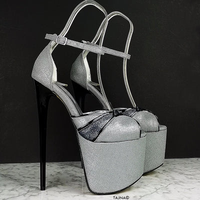 Gray Black Tango Strap High Heels - Tajna Club