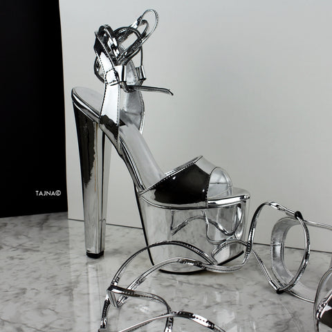 Silver Mirror Metallic Chunky Heel Sandals - Tajna Club