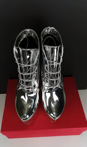 Lace Up Silver Mirror Spike Boots - Tajna Club