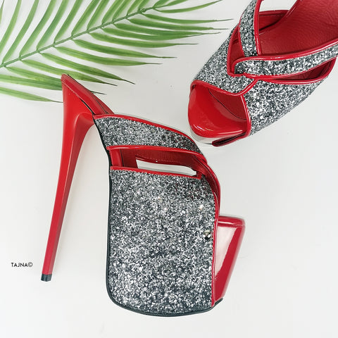 Red Silver Glitter Detail Stiletto Mules - Tajna Club