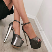 Dark Silver Metallic Platforms - Tajna Club